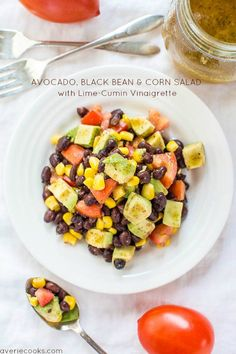 Avocado, Black Bean and Corn Salad with Lime-Cumin Vinaigrette (add cilantro! avocado is optional) Corn Avocado Salad, Avocado Salat, Corn Salads, Zucchini Salad, Zucchini Boats, Black Bean Corn Salad, Bean Salad, Healthy Salads, Healthy Eating