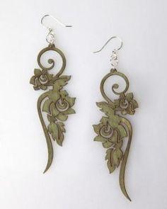 Flower wood earrings