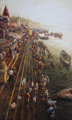 Artwork By Iruvan Karunakaran 36 X 60 In India Landscape, African Art Paintings, Abstract City, Buddha Painting, Art Hub, India Culture, Beautiful Nature Wallpaper, Indian Artist, Varanasi