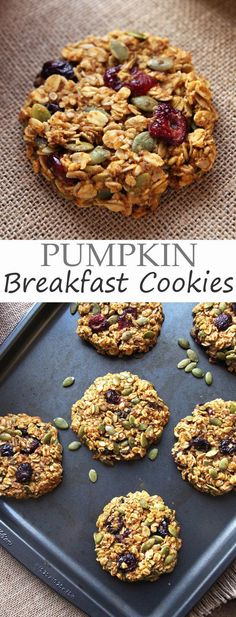 Pumpkin Breakfast Cookies drive home the fall flavor with pumpkin seeds and dried cranberries. They are GF, refined sugar-free: Pumpkin Breakfast Cookies drive home the fall flavor with pumpkin seeds and dried cranberries. They are GF, refined sugar-free Breakfast And Brunch, Breakfast Recipes, Breakfast Muffins, Breakfast Ideas, Nutritious Breakfast, Breakfast Cake, Breakfast Casserole, Vegan Breakfast, Brunch Recipes