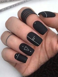 Black nails with a picture Black shellac nails Drawings on nails Festive nails G. - Black nails with a picture Black shellac nails Drawings on nails Festive nails Geometric nails Matte black nails New years nails Party nails Black Shellac Nails, Black Coffin Nails, Black Acrylic Nails, Edgy Nails, Best Acrylic Nails, Grunge Nails, Stylish Nails, Trendy Nails, Black Nail Art