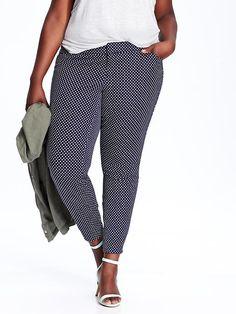 Plus Size Dot Ankle Pants