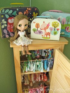 closet pic update, I rearranged things a bit for more space. :) everything that doesn't fit on hangers is in the cases on top. Doll Storage, Kids Storage, Josie Loves, Kids Study, Kawaii Doll, New Dolls, Collector Dolls, Cute Dolls, Big Eyes