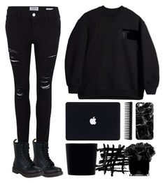 """am i obsessed with you?"" by chintyar ❤ liked on Polyvore featuring Frame Denim, T By Alexander Wang, GHD, Casetify, iittala, Dr. Martens, Hervé Gambs, black and allblack"