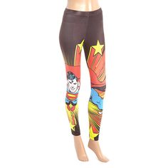 Superman Black & Red Superman Leggings ($14) ❤ liked on Polyvore featuring pants, leggings, red trousers, stretchy pants, print stretch pants, superman pants and red stretch pants