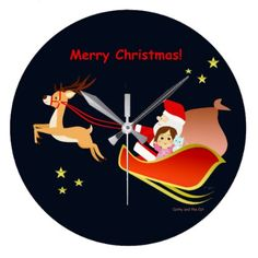 Christmas 3 large clock - home gifts ideas decor special unique custom individual customized individualized