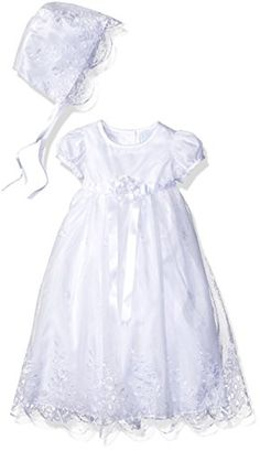 Picture Perfect Baby Embroidered Organza Scallop Hem Christening Dress with Bonnet White 36 Months -- To view further for this item, visit the image link.