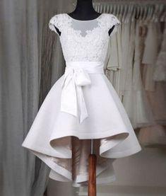 Prom Dresses,New Arrival Prom Dress,Sexy Prom Dress,Prom Dress,Simple white lace short prom dress,High low homecoming dresses,homecoming dresses