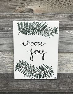 Choose joy - white background green leaves succulent earthy tones tree pattern|| Bible verse canvas painting art faith & Jesus || Canvases For Christ BMK Designs