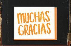 Muchas Gracias biligual thank you letterpress card