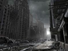 The city destroyed after mortar bombings.