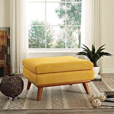 Engage Fabric Ottoman in Citrus
