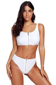 b4f2433f1f Cheap White Zip Front 2pcs Bikini Sporty Swimsuit only US$ 7.48, Bikinis  Drop Shipping