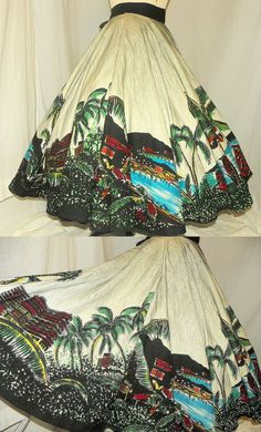 1950's Mexican Hand Painted Tourist Skirt Vintage 50's skirt, via Etsy.