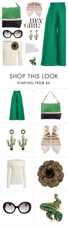 """""""Go for green"""" by pensivepeacock on Polyvore featuring Paper London, CÉLINE, Fendi, The Row, Chanel and Prada"""