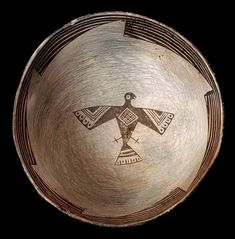 NA-2670. The Mimbres Figural Bowl with Eagle Effigy, Red-On-White type,  Pre-historic New Mexico, ca. A.D. 950 to 1150.