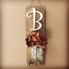 Initial Mason Jar Wall Sconce Mason Jar Decor Wall Hanging Sconce Mason Jar Wall Decor Rustic Home Decor Home&Living Rustic DecorGift Pot Mason Diy, Mason Jars, Country Decor, Rustic Decor, Farmhouse Decor, Mason Jar Projects, Mason Jar Crafts, Mason Jar Wall Sconce, Wall Sconces