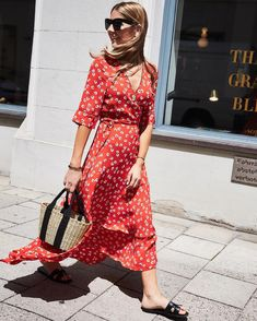 9fbd6d7a Ganni street style | Alexandra Krüsi | Silvery Crepe Wrap Dress Red Skirts,  Vacation Outfits