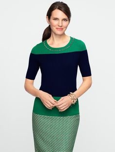 Talbots - Talbots Merino Gem-Trimmed Sweater - This color blocking pattern and silhouette will work well for me