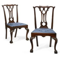 The Important Pair of Morris Family Chippendale Carved and Figured Mahogany Side Chairs, Philadelphia, Pennsylvania circa 1765  each retains an original slip seat. First chair marked IIII; seat cushion frame not marked. Second chair marked III.  Height 39 1/2 in.