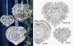 Crocheted lace hearts