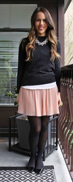 Jules in Flats - Valentines Day Outfit, Pink Chiffon Mini Skirt