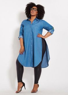 Denim Duster With Side Taping size fashion for women Plus Size Denim Duster With Side Taping Look Plus Size, Dress Plus Size, Plus Size Skirts, Plus Size Model, Plus Size Outfits, Women's Plus Size Style, Plus Size Clothing, Plus Size Chic, Curvy Fashion