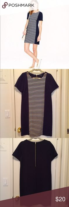 JCrew Striped Knit Shift Dress Navy blue short sleeve shift with navy and white striped panel. Exposed back zip. J. Crew Dresses