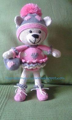 Osita Pompom Amigurumi -Patrón Gratis en Español Crochet Teddy, Crochet Bear, Crochet Animals, Crochet Dolls, Free Crochet, Amigurumi Doll, Amigurumi Patterns, Crochet Patterns, Stuffed Animal Patterns