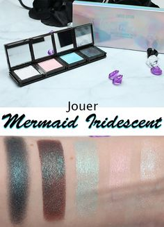 NEW PHYRRA! @phyrra  Jouer Mermaid Iridescent Eyeshadow Palette First Impressions and Swatches. This is an iridescent palette, and the lighter shades are probably meant to be built up-the shade to the left is a MUG shade she chose to compliment, second left is Dreamer iridescent duochrome peacock deep charcoal brown base with strong blue shift and sparkle. I don't know if I will try this, but Jouer has some lovely items-check out their blushes. She likely will do a full review/look later