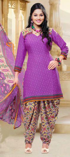 Purple Crepe Silk Punjabi Suit 58790