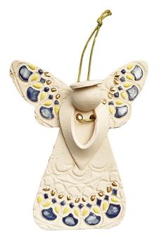 Southwest White Clay Mosaic Angel Christmas Ornament