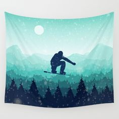 #society6 #giart #tapestries #snowboard #winter #christmas Available in three distinct sizes, our Wall Tapestries are made of 100% lightweight polyester with hand-sewn finished edges. Featuring vivid colors and crisp lines, these highly unique and versatile tapestries are durable enough for both indoor and outdoor use. Machine washable for outdoor enthusiasts, with cold water on gentle cycle using mild detergent - tumble dry with low heat.