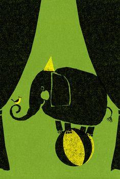 circus elephant block print