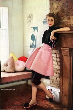 I've always adorned this youthful pink and black ensemble from the pages of a 1951 Charm magazine. #pink #black #vintage #fashion #clothing #style #1950s