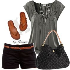 "Fun yet still slightly casual, what a cute summer short outfit. Perfect ensemble for date night, ""let's go get some ice cream"" comes to mind. Love the pop of sparkle!"