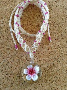 Glass Flower Macrame Necklace by RCnKMacrame on Etsy