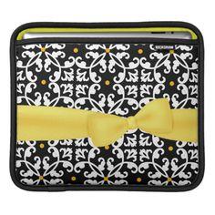 Black, White, and Yellow Damask iPad Sleeve