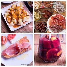 Enkla tapas, patatas bravas, sangria och pan con tomate. Chorizo, Sangria, Tapas, Omelet