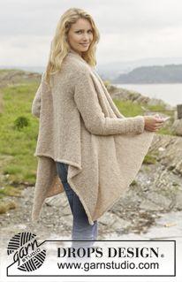 """Ballade - Knitted DROPS jacket in """"Alpaca Bouclé."""" Size: S - XXXL. - Free pattern by DROPS Design"""