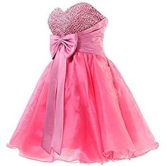 Barbie's Dream Dress: Cute Short Pink Cocktail Dress with a Bow in the front & a Jeweled Bodice. If only I had somewhere to wear it! Cute Dresses For Teens, Mini Prom Dresses, Super Cute Dresses, Cheap Prom Dresses, Dance Dresses, Pretty Dresses, Beautiful Dresses, Girls Dresses, Dress With Bow