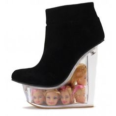 Jeffrey Campbell The Icy Shoe in Black Suede and Doll Heads