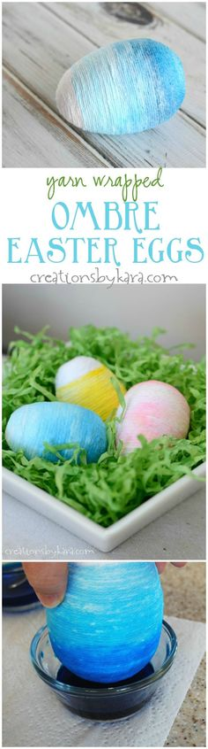 Yarn Wrapped Ombre Easter Egg Tutorial- so fun for spring and Easter decor! Just toss a few of these ombre eggs in a bowl for easy spring decor.  via http://creationsbykara.com