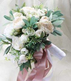 Silk Wedding Bouquet, Boho Bouquet, Bridal Bouquet, Silk Flowers, Artificial Bouquet, Wedding Flowers, White, Cream and Green, Olive foliage
