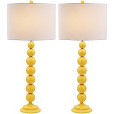 Safavieh Lighting 31-inch Jenna Stacked Ball Yellow Table Lamps (Set of 2)