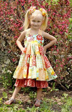 Tiffany's Sweetheart Patchwork Twirl Dress by CreateKidsCouture, $12.00