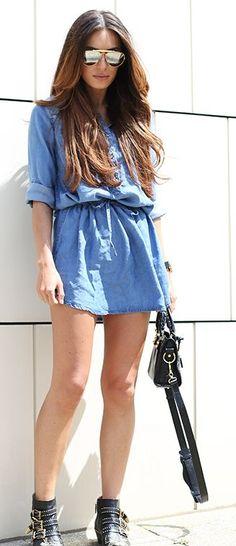 Denim Shirt Dress Casual Style