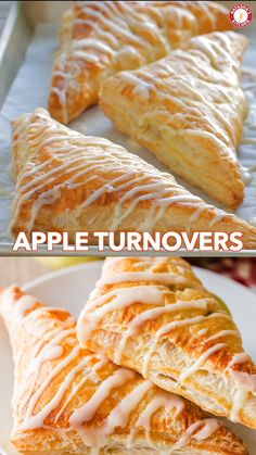 How to Make Easy Apple Turnovers with the best glaze! One of our favorite Apple recipes! This apple dessert always disappears fast and is so simple to make! How to Make Easy Apple Turnovers with the. Apple Turnover Recipe, Turnover Recipes, Simple Apple Pie Recipe, Apple Fritter Recipes, Strudel Recipes, Puff Pastry Desserts, Puff Pastry Recipes, Apple Turnovers With Puff Pastry, Crescent Roll Apple Turnovers