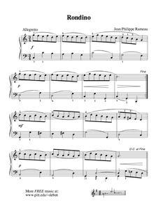 Rondino (Rameau) | Free Sheet Music for Easy Piano Solo - https://thepianostudent.wordpress.com/2015/09/13/rondino-rameau-free-sheet-music-for-easy-piano-solo/