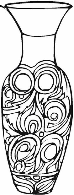 ceramic coloring for children | Vase & Pottery Coloring Page